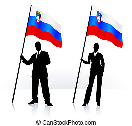 Business silhouettes with waving flag of Slovenia