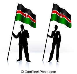 Business silhouettes with waving flag of Kenia - Business...