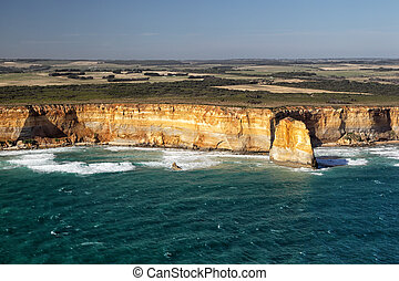 Port Campbell National Park - Aerial view of the coastline...