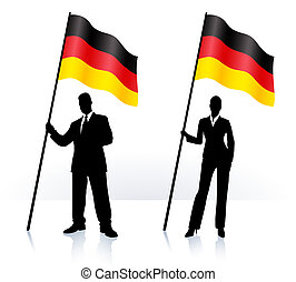 Business silhouettes with waving flag of Germany