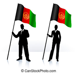Business silhouettes with waving flag of Afganistan Original...