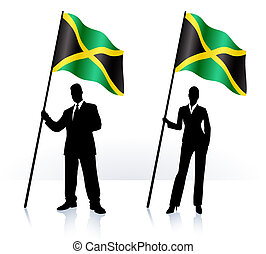 Business silhouettes with waving flag of Jamaica - Business...
