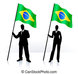Business silhouettes with waving flag of Brazil