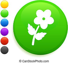 flower icon on round internet button