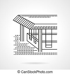 Flat line design coastal terrace vector icon - Sea resort or...