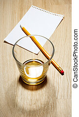Scotch on wooden background with copyspace Top view