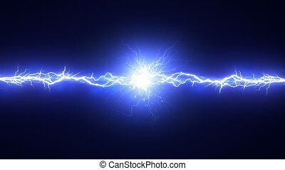 Electric Arc On Black Background - Electrical discharge Two...
