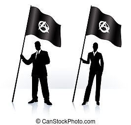 Business silhouettes with waving flag of Anarchy Original...