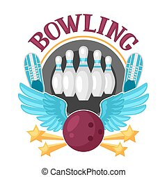 Bowling emblem with game objects Image for advertising...