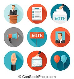 Vote political elections icons Illustrations for campaign...