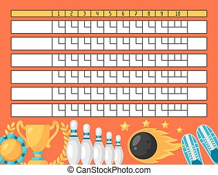 Bowling score sheet Blank template scoreboard with game...