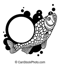 Circle frame with decorative fish. Image for design on t-shirts, prints, decorations brochures and websites