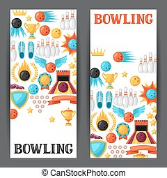 Bowling banners with game objects Image for advertising...