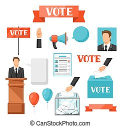 Vote political elections set of objects Illustrations for...