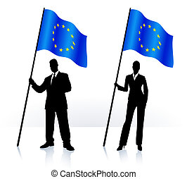 Business silhouettes with waving flag of European Union
