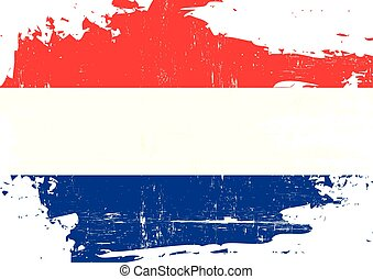 Dutch scratched Flag - A flag of Netherlands with a grunge...