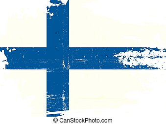 Finnish scratched Flag - A finnish flag with a grunge...