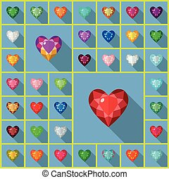 Vector gems heart - Vector gems icons set. Flat vector...