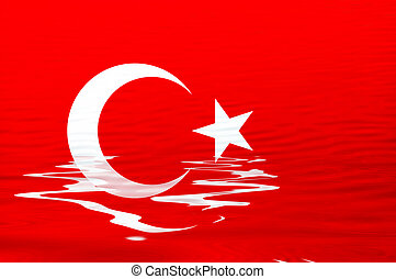 flag - turkey flag in the water illustration, computer...