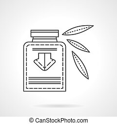 Herbal tincture flat line design vector icon - Bottle with...