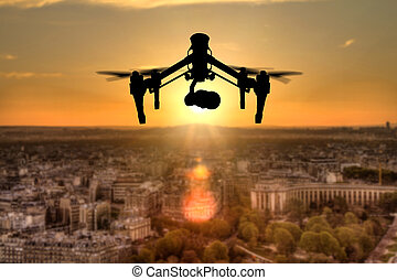 zángano, silueta, vuelo, sobre, parís, ciudad,...