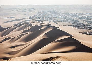 Huacachina desert dunes - Sand dunes in Huacachina desert,...