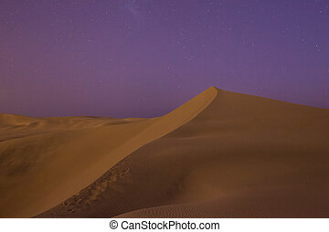 Huacachina desert dunes at night, Ica Region, Peru