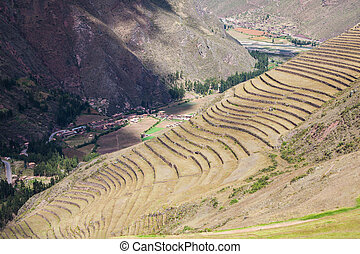 Inca Pisac, Peru - Inca terraces in Pisac It is a Peruvian...