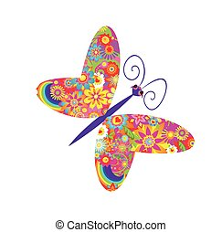 Flowers print with butterfly