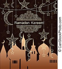 Greeting card for Ramadan with hanging decoration