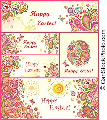Set of Easter colorful banners