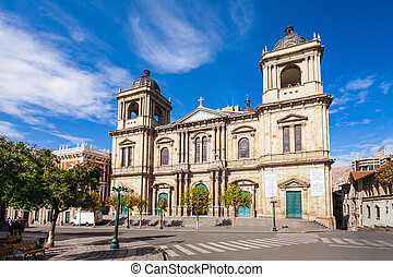 Plaza Murillo, LaPaz - The Metropolitan Cathedral is located...