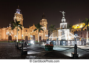 Basilica Cathedral, Lima - The Basilica Cathedral of Lima at...