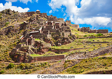 Inca Pisac, Peru - Qalla Qasa is the citadel in Pisac, Peru