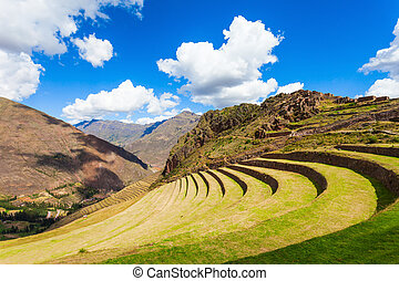 Inca Pisac, Peru - Inca terraces in Pisac. It is a Peruvian...