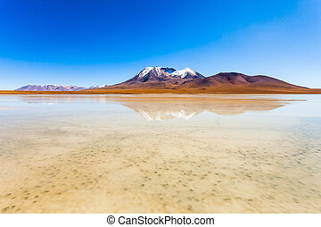 Lake, Bolivia Altiplano - Beauty lake and volcano on...
