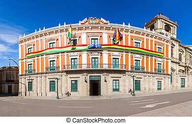 Plaza Murillo, LaPaz - Bolivian Palace of Government Palacio...