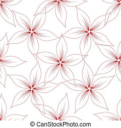 red flowers seamless isolated on white background.