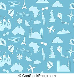 Seamless vector pattern background travel, vacation, famous...