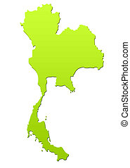 Thailand map in green, isolated on white background.