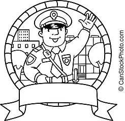 Funny policeman. Coloring book or emblem - Coloring book or...