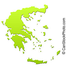 Greece map in green, isolated on white background.