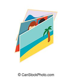 Stack of photos icon, isometric 3d style - Stack of photos...