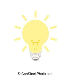 Glowing yellow light bulb icon, isometric 3d style - Glowing...