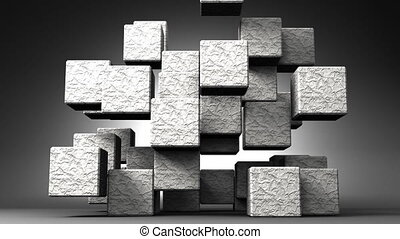 Stone Cube Abstract - Loop Able Stone Cube Abstract On Black...