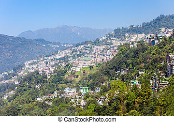 Gangtok aerial view - Gangtok city aerial panoramic view...