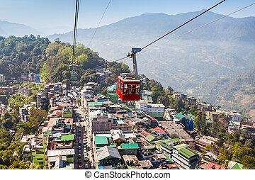 Gangtok Ropeway, India - Gangtok Ropeway in Gangtok city in...