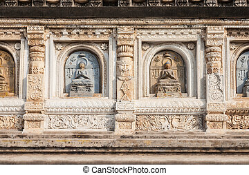 Mahabodhi Temple, Bodhgaya - Decorated relief panel of...