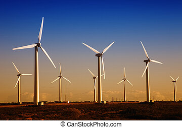 turbines - white wind turbines in the top of the mountain
