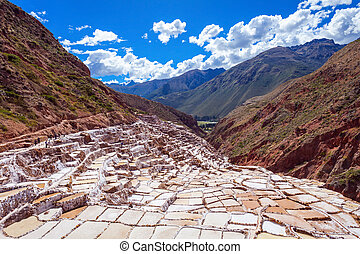 Salinas de Maras, Pre Inca traditional salt mine in Peru